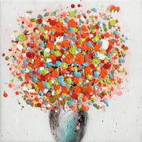 Quadro dipinto a mano Vaso Fiori Arancione 30x30 cm