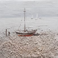 Quadro dipinto a mano Barca1 30x30 cm