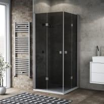 Box doccia pieghevole 70 x 120 cm, H 201.7 cm in vetro, spessore 6 mm fumé argento
