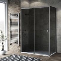 Box doccia scorrevole 120 x 80 cm, H 200 cm in vetro, spessore 6 mm fumé argento