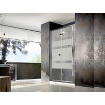 Porta doccia pieghevole Alisu 90 cm, H 195 cm in vetro temprato, spessore 5 mm serigrafato argento