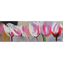 Quadro dipinto a mano Tulipani 90x30 cm