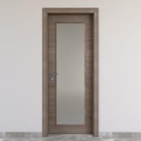 Porta a battente Stylish Vetro grigio chiaro L 80 x H 210 cm reversibile