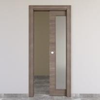 Porta scorrevole a scomparsa Stylish Vetro grigio chiaro L 80 x H 210 cm reversibile