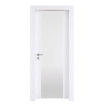 Porta a battente Plaza Vetro frassino bianco L 90 x H 210 cm destra
