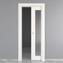 Porta scorrevole a scomparsa Moma Vetro bianco L 70 x H 210 cm reversibile
