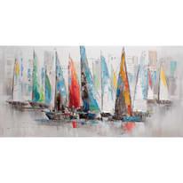 Quadro dipinto a mano Barche A Vela 120x60 cm