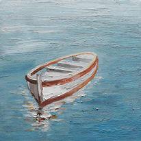 Quadro dipinto a mano Barca 30x30 cm