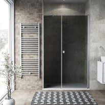 Box doccia battente 110 x 70 cm, H 200 cm in vetro, spessore 6 mm fumé argento