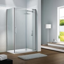 Porta doccia scorrevole Slimline 120 cm, H 195 cm in vetro temprato, spessore 6 mm trasparente argento