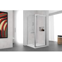 Porta doccia battente Oceania 70 cm, H 195 cm in vetro temprato, spessore 5 mm trasparente argento