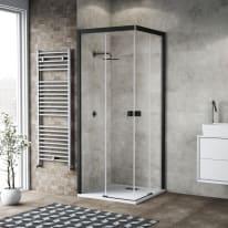 Box doccia scorrevole 80 x 80 cm, H 80 cm in vetro, spessore 6 mm trasparente nero