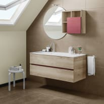 Mobile bagno Share olmo e bordeaux L 121 cm