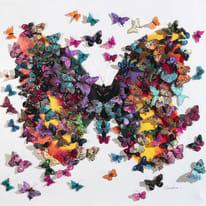 Quadro dipinto a mano Farfalle 100x100 cm