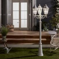 Lampione H225cm in alluminio, bianco, E27 1xMAX100W IP44 INSPIRE