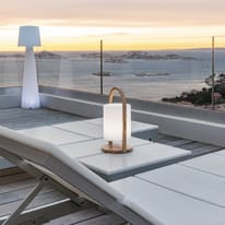 Lampada da tavolo WOODY H36.7cm, in plastica, luce bianco, LED integrato IP44