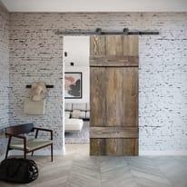 Porta scorrevole con binario esterno Barn in legno grezzo Kit Toledo L 96 x H 215 cm
