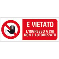 Cartello segnaletico Vietato l'ingresso ai non autorizzati vinile 31 x 14 cm