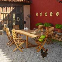 Set tavolo e sedie Viena in acacia marrone 6 posti