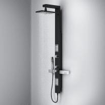 Colonna doccia idromassaggio Neo con miscelatore termostatico nero 2 getti