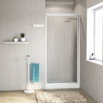 Porta doccia battente Elba 75 cm, H 185 cm in vetro temprato, spessore 3 mm acrilico piumato bianco