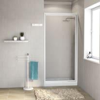 Porta doccia battente Elba 80 cm, H 185 cm in acrilico, spessore 3 mm acrilico piumato bianco