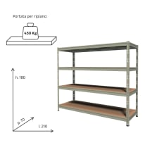 Scaffale in metallo in kit Kit scaffale L 210 x P 70 x H 180 cm grigio