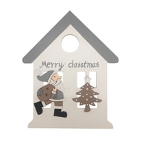 Decorazione da appendere casetta con Babbo Natale  in legno H 23 cm, L 19 cm  x P 0.5 cm