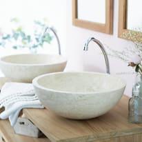 Lavabo da appoggio Rotondo Ibyza  in marmo Ø 40 x H 15 cm bianco