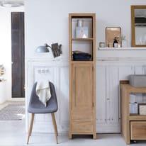 Colonna Layang 2 cassetti 1 anta L 40 x P 35 x H 190 cm marrone legno ed effetto legno TIKAMOON
