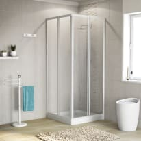 Box doccia quadrato scorrevole 60 x 60 cm, H 185 cm in acrilico, spessore 3 mm vetro acrilico piumato bianco