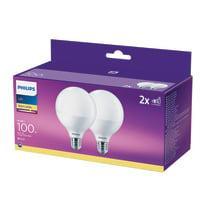 Lampadina LED E27 globo bianco caldo 15W = 1521LM (equiv 100W) 150° PHILIPS, 2 pezzi