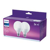 Lampadina LED E27 globo bianco naturale 15W = 1521LM (equiv 100W) 150° PHILIPS, 2 pezzi