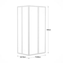 Box doccia rettangolare scorrevole 70 x 90 cm, H 185 cm in acrilico, spessore 3 mm vetro di sicurezza piumato bianco