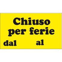 Cartello segnaletico Chiuso per ferie pvc 20 x 30 cm