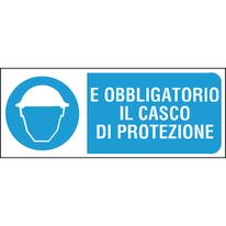 Cartello segnaletico Obbligo casco pvc 31 x 14 cm