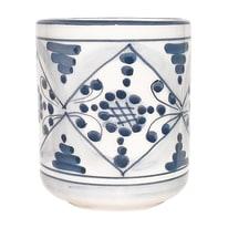 Bicchiere porta spazzolini Tribù in ceramica blu antico indaco
