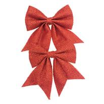 Set 2 fiocchi in tessuto rosso brillante , L 13 cm