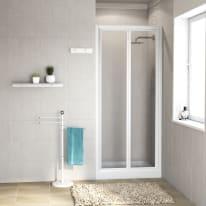 Porta doccia pieghevole Elba 70 cm, H 185 cm in acrilico, spessore 3 mm acrilico piumato bianco