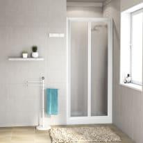 Porta doccia pieghevole Elba 90 cm, H 185 cm in vetro temprato, spessore 3 mm serigrafato e brinato bianco