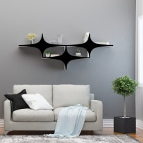 Mensola Chausey L 180 x P 20 cm, Sp 20 cm bianco e nero