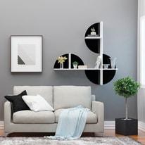 Mensola Maui L 120 x P 18 cm, Sp 20 cm bianco e nero