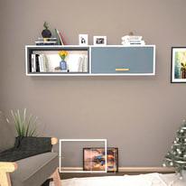 Mensola Safir L 150 x P 22 cm, Sp 20 cm bianco e grigio