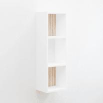 Mensola a cubo Bermuda L 30 x H 90 cm, Sp 25 mm bianco e rovere