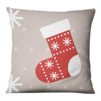 Fodera per cuscino Calza Natale beige, rosso, bianco 45x45 cm