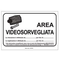 Cartello segnaletico Area videosorvegliata vinile 20 x 30 cm