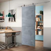 Porta scorrevole con binario esterno Cemento in mdf laminato Kit Toledo L 92.5 x H 211.5 cm