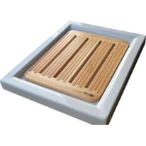 Pedana per doccia Arcano in legno larice naturale 54 x 68 cm