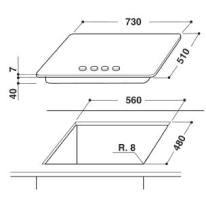 Piastra di cottura a gas 56 cm WHIRLPOOL GMR7522/IXL