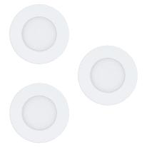 Faretto fisso da incasso tondo Fueva-C in metallo, bianco, diam. 8.5 cm 14.5x8.5cm LED integrato 3W 1080LM IP20 EGLO3 pezzi